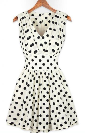 White V Neck Sleeveless Polka Dot Pleated Dress
