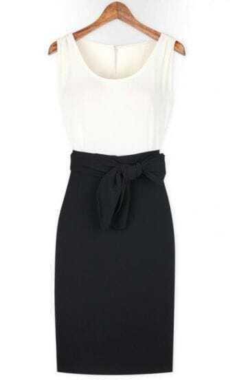 White Black Sleeveless Belt Bodycon Dress