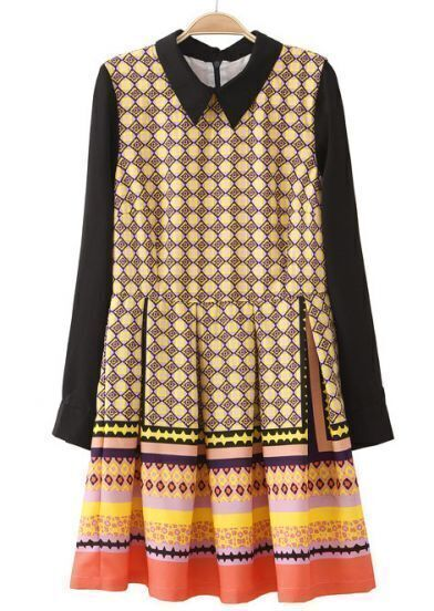 Yellow Long Sleeve Geometric Print Ruffles Dress