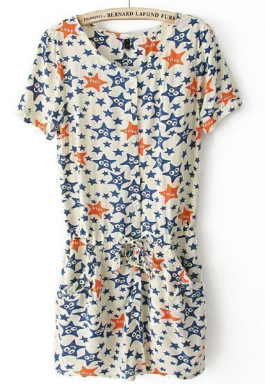 Beige Short Sleeve Stars Print Drawstring Dress