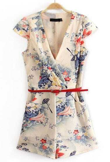 Apricot V Neck Short Sleeve Belt Floral Jumpsuits