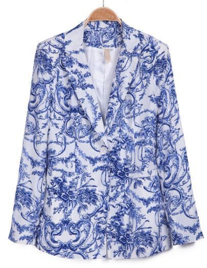 White Blue Long Sleeve Porcelain Pattern Blazer
