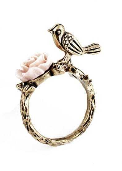 Gold Bird Flower Ring