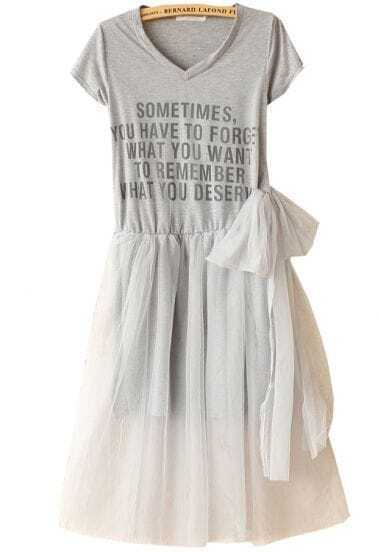 Grey Short Sleeve Contrast Mesh Yoke Letters Print Dress