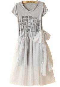 Grey Short Sleeve Contrast Mesh Yoke Letters Print Dress