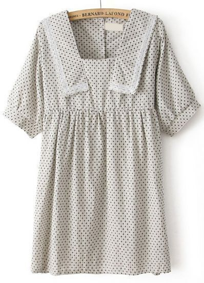 Ivory Short Sleeve Cross Print Lace Pleated Dress
