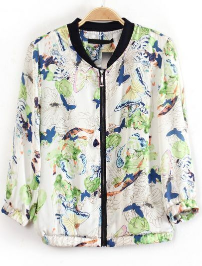 White Long Sleeve Zipper Butterfly Fruit Print Jacket