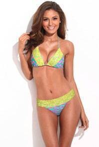 Wavy Stripes Neon Yellow Lace Triangle Bikini Set