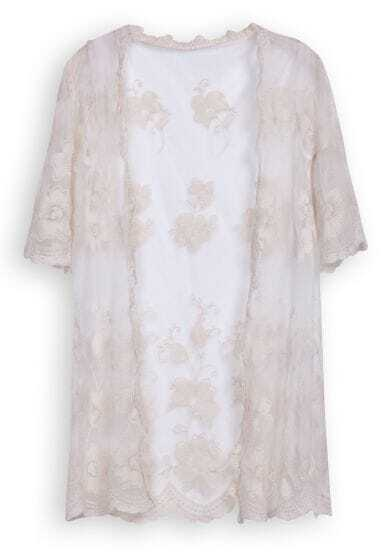 Beige Short Sleeve Hollow Embroidery Lace Cardigan