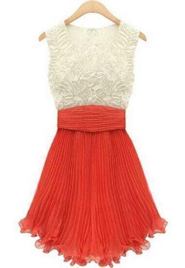 Red Sleeveless Embroidery Pleated Chiffon Dress