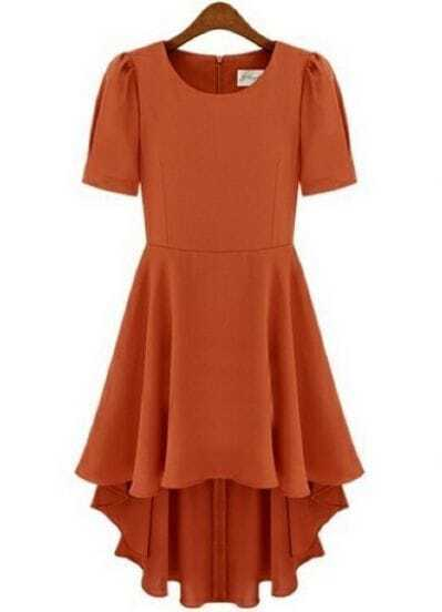 Orange Short Sleeve Back Zipper High Low Chiffon Dress