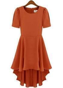 Orange Short Sleeve Back Zipper High Low Chiffon Dress