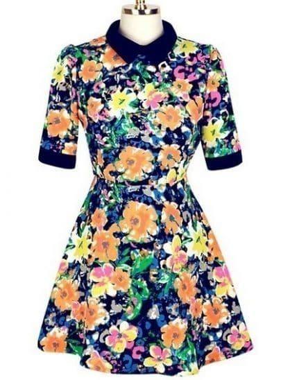 Blue Lapel Short Sleeve Zipper Floral Dress