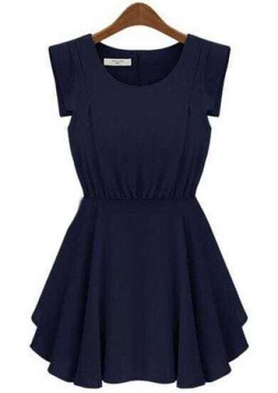 Navy Short Sleeve Back Zipper Pleated Waist Dress