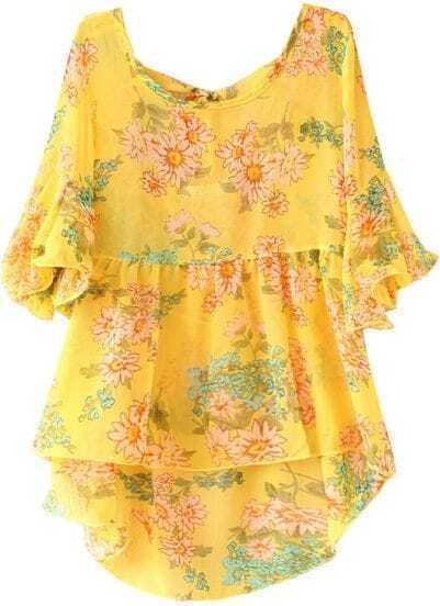 Yellow Puff Sleeve Floral Dipped Hem Chiffon Blouse