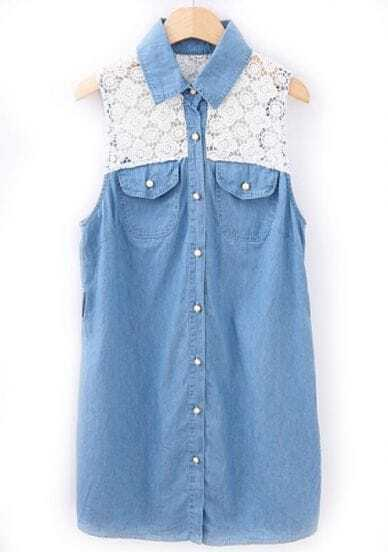 Blue Contrast Lace Sleeveless Pockets Denim Blouse