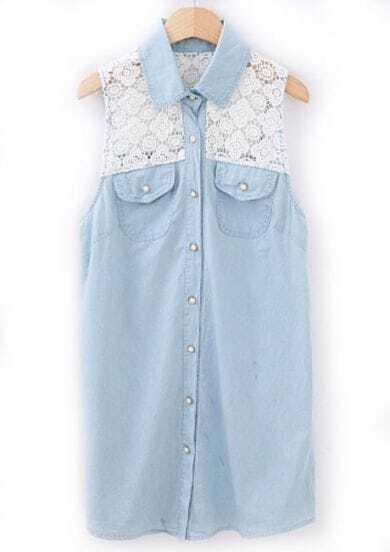 Light Blue Contrast Lace Sleeveless Pockets Denim Blouse