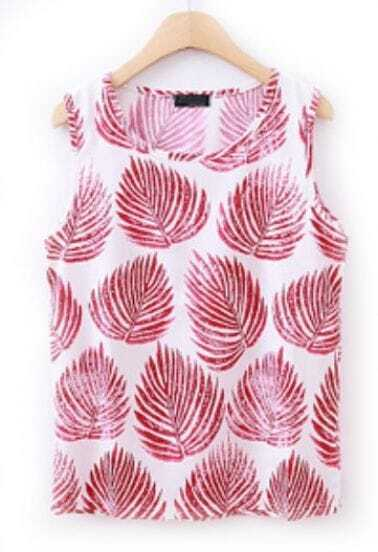Rose Red Sleeveless Leaves Print Chiffon Vest