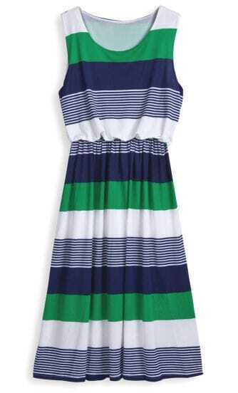 Green Round Neck Sleeveless Striped Mid Waist Dress