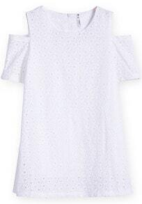 White Off the Shoulder Short Sleeve Hollow Dress