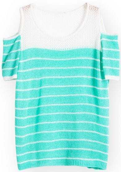 Green Off the Shoulder Striped Loose Sweater