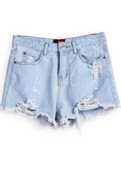 Blue Pockets Ripped Denim Shorts -SheIn(Sheinside)