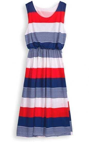 Red Round Neck Sleeveless Striped Mid Waist Dress