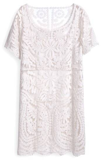 White Short Sleeve Embroidery Sheer Lace Dress