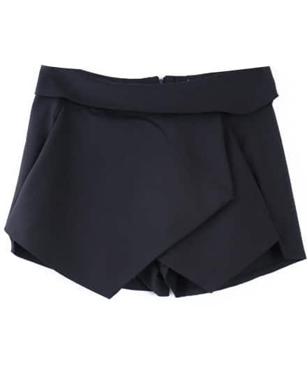 Black Asymmetrical Geometric Pockets Shorts