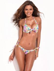 Jungle Pattern Push-Up Halter Top & Side-tie Bikini Set