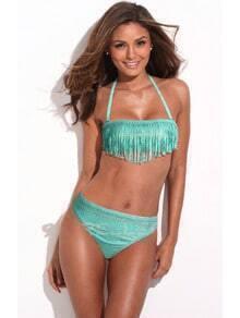 Green New Metallic Pattern Fringe Bikini Set