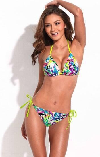 Doodle Print Triangle Top Bikini Set with Neon Yellow Ties