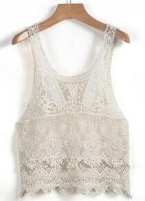 Beige Scoop Neck Sleeveless Lace Vest