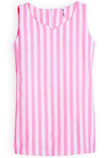 Red White Vertical Stripe Sweet Heart Neck Vest
