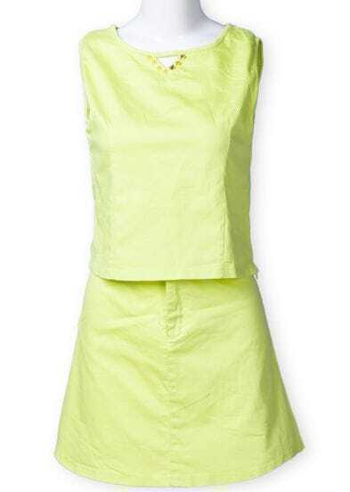 Green Sleeveless Rivet Side Zipper Top Witn Skirt