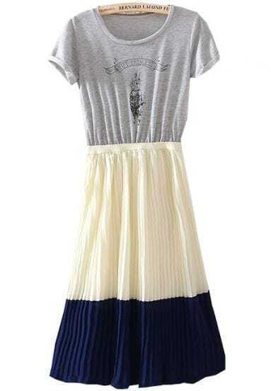 Grey Apricot Blue Short Sleeve Rabbit Print Pleated Dress