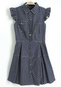 Navy Lapel Ruffles Sleeve Polka Dot Loose Dress