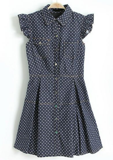 Navy Lapel Ruffles Sleeve Polka Dot Loose Dress