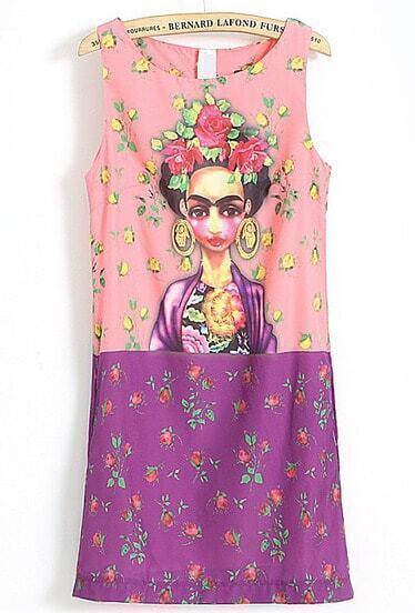 Pink Purple Sleeveless Gypsy Print Sundress