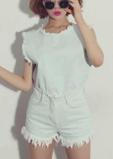 Turquoise Sleeveless Fringe Denim Top With Shorts