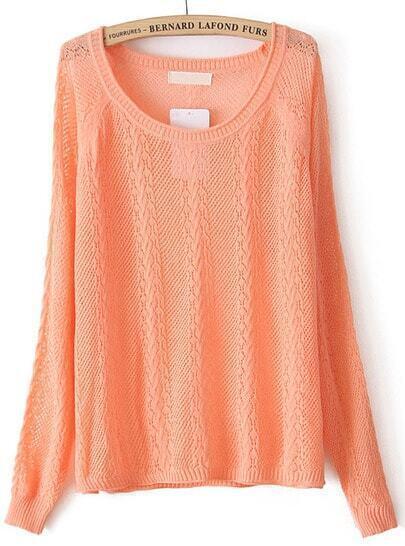 Jersey hueca manga larga-Naranja
