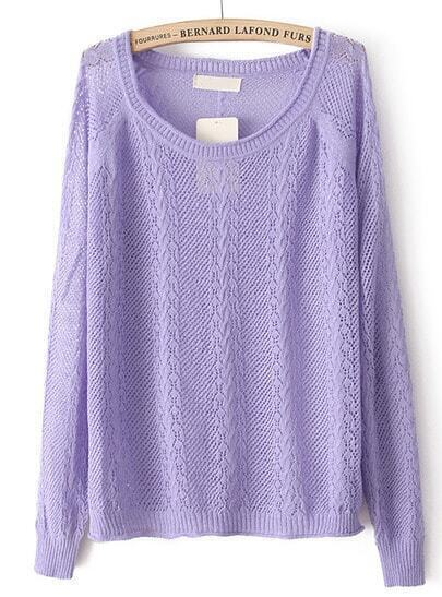 Purple Long Sleeve Hollow Pullover Sweater