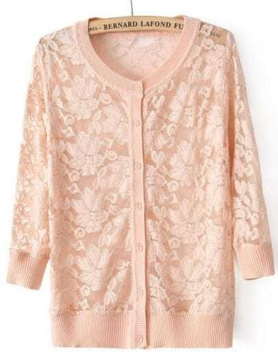 Pink Long Sleeve Embroidery Lace Cardigan -SheIn(Sheinside)
