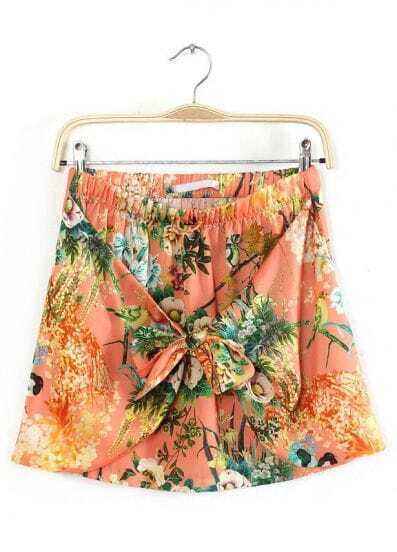 Red Elastic Waist Bow Floral Skirt
