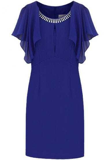Blue Ruffles Sleeve Rhinestone Bodycon Chiffon Dress