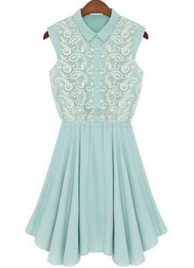 Green Lapel Sleeveless Embroidery Chiffon Dress