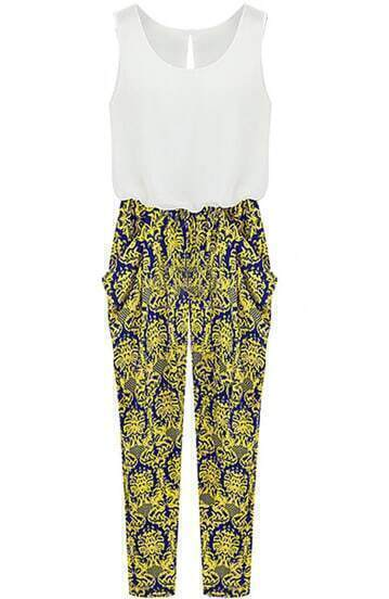 White Yellow Sleeveless Floral Loose Jumpsuits