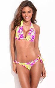 Sun-Loving High Contrast Floral Blooming Pattern Bikini
