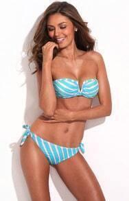 Blue Metallic Stripe Full-Lined Bandeau Bikini Set