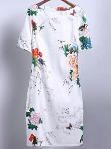 White Short Sleeve Floral Butterfly Print Dress -SheIn(Sheinside)